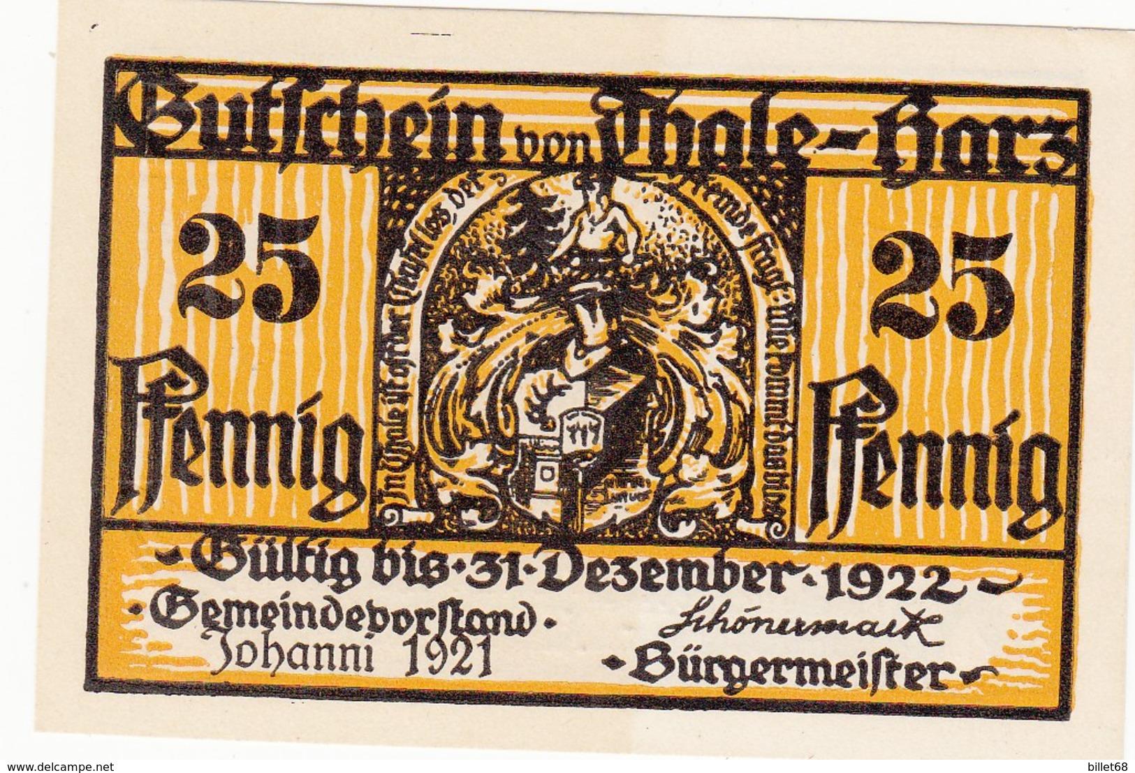 Billet Allemand - 25 Pfennig - Thale Am Harz 1922 - [11] Local Banknote Issues