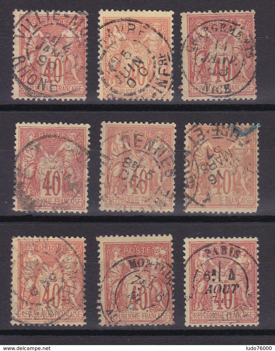 D336/ SAGE N° 94 OBL / 9 TIMBRES - 1876-1898 Sage (Type II)