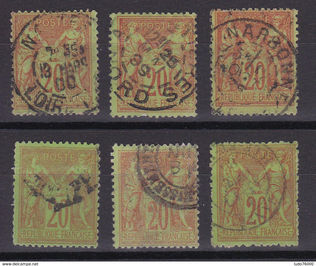 D336/ SAGE N° 96 OBL / 6 TIMBRES - 1876-1898 Sage (Type II)