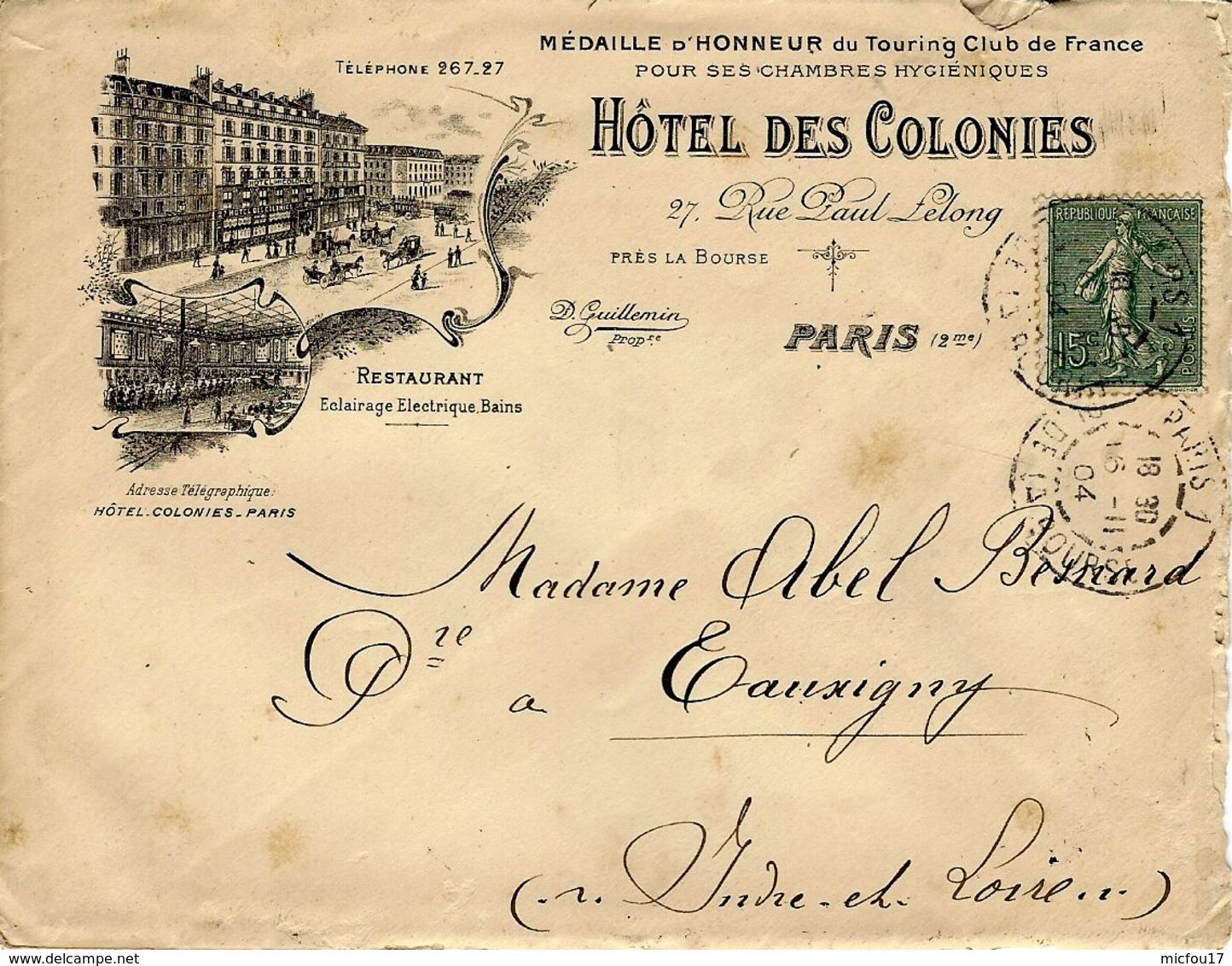 """1904- Enveloppe ILLUSTREE  """" HOTEL Des COLONIES """"  De Paris  - 1 Place De La Bourse - Marcophilie (Lettres)"""