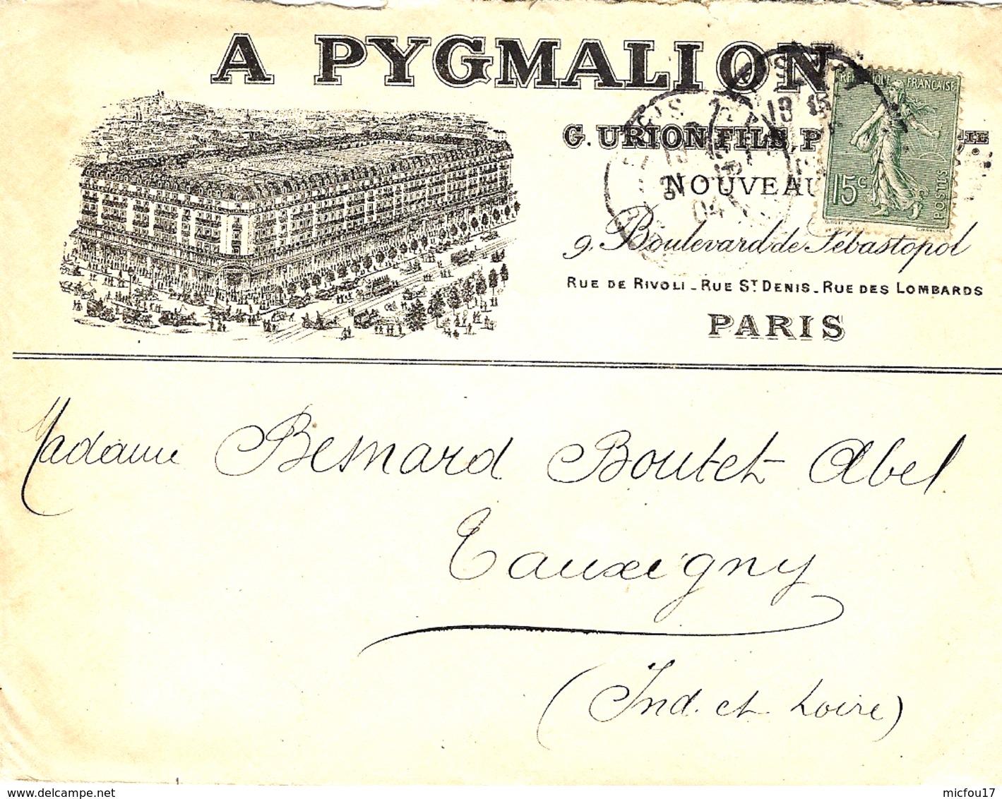 """1904- Enveloppe ILLUSTREE   """" Hôtel A. PYGMALION """" De Paris - Marcophilie (Lettres)"""