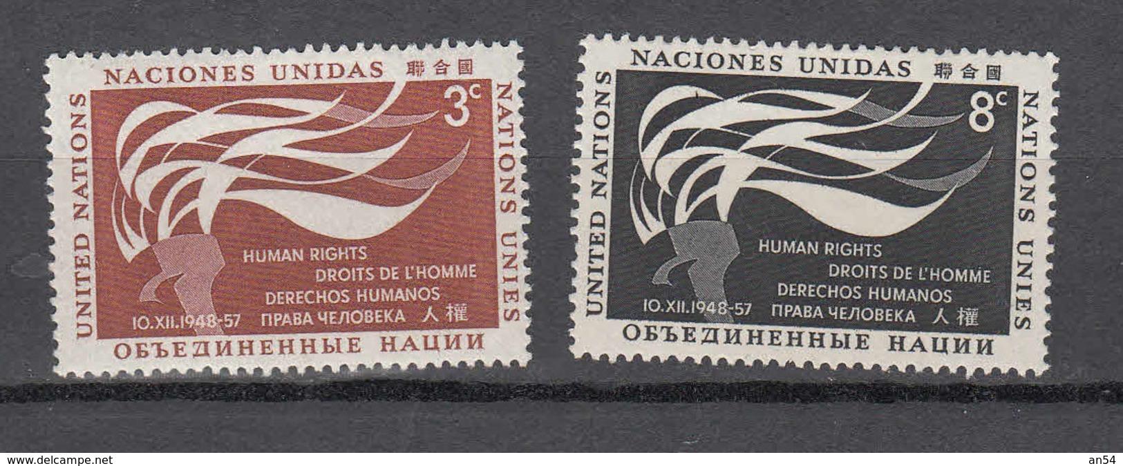 NATIONS  UNIES  NEW-YORK  1957   N° 54 - 55      NEUFS**   CATALOGUE YVERT&TELLIER - New York -  VN Hauptquartier