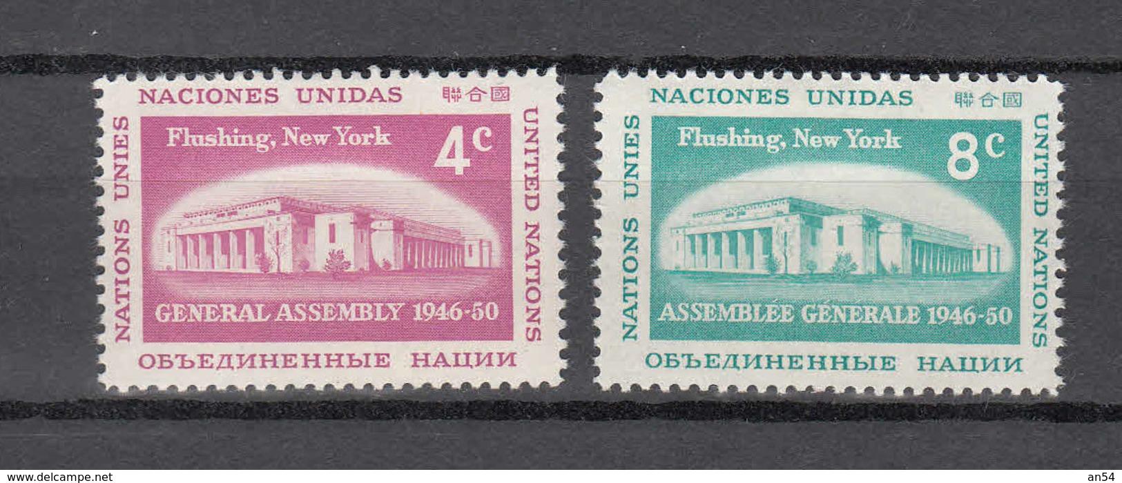 NATIONS  UNIES  NEW-YORK  1959   N° 66 - 67    NEUFS**   CATALOGUE YVERT&TELLIER - New York -  VN Hauptquartier