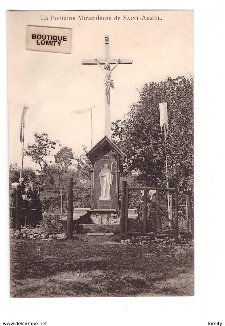 35 Fontaine Miraculeuse De Saint Armel Cpa Carte Animée - Autres Communes