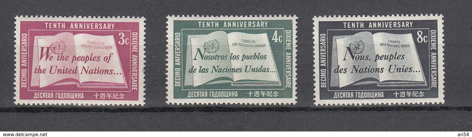 NATIONS  UNIES  NEW-YORK  1955   N° 35 à 36    NEUFS**   CATALOGUE YVERT&TELLIER - New York -  VN Hauptquartier