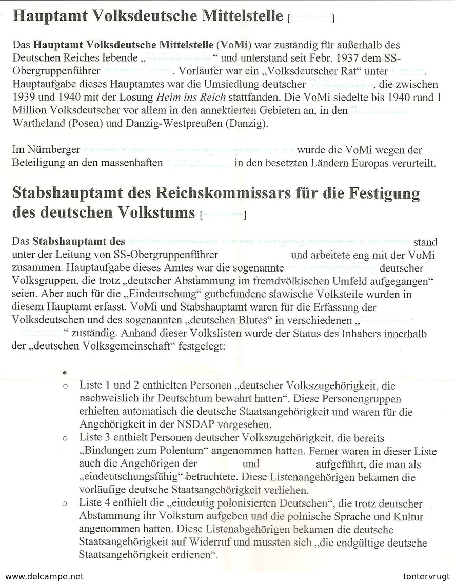 Böhmen Friedland.Volksdeutsche Mittelstelle Lager Nr 74. SS Resettlement Camp>Westmark - Deutschland