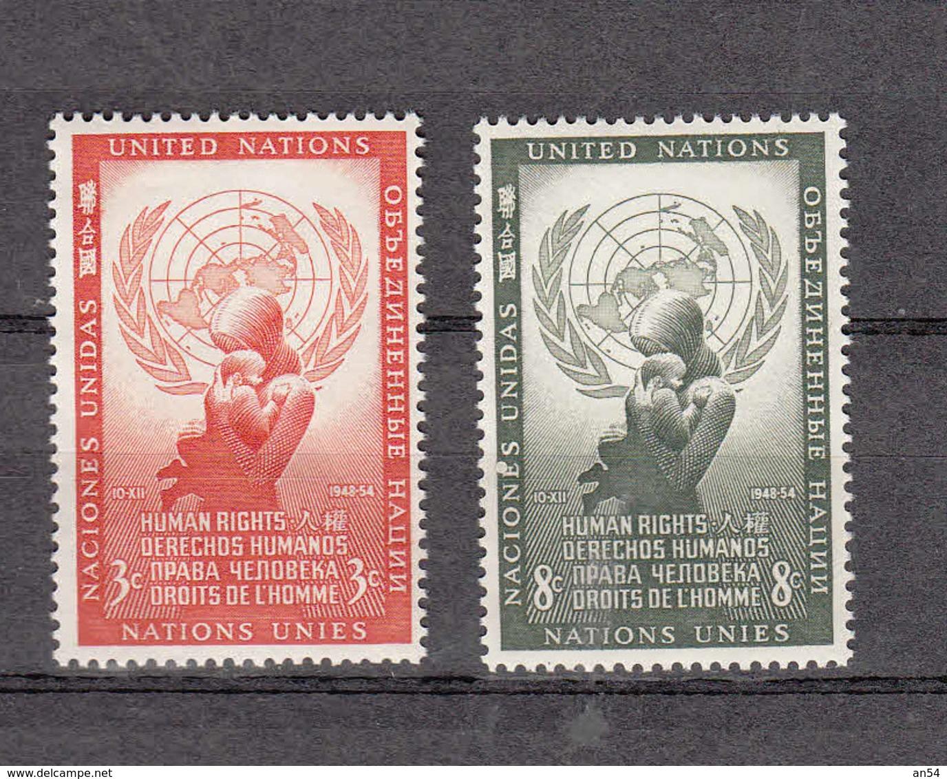 NATIONS  UNIES  NEW-YORK  1954   N° 29 - 30    NEUFS**   CATALOGUE YVERT&TELLIER - New York -  VN Hauptquartier