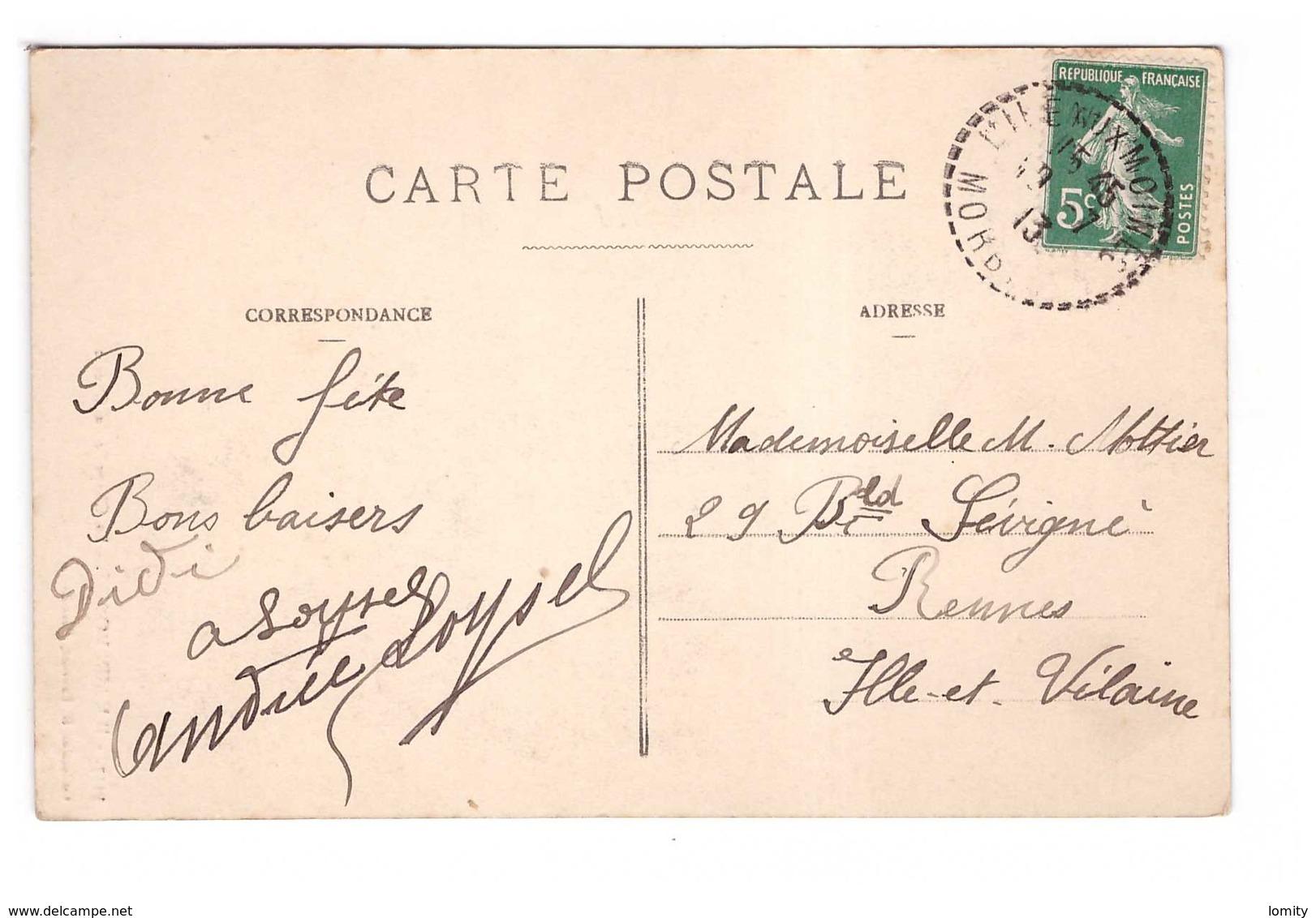 Cachet Manuel Perlé Tireté 56 Ile Aux Moines 1913 Morbihan Sur Cpa Ile Aux Moines Chapelle Du Gueric - Marcophilie (Lettres)