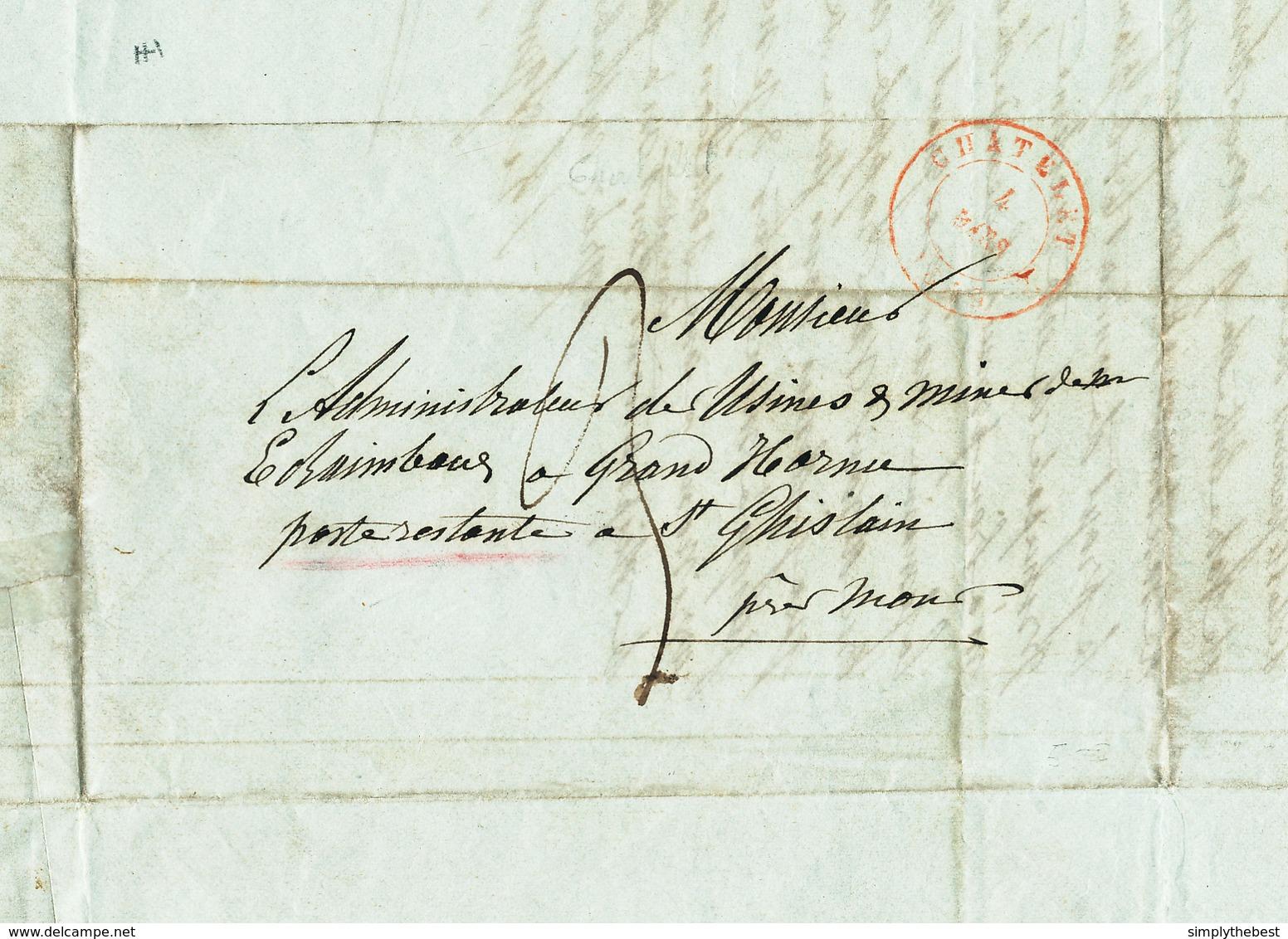 499/28 - CHARBONNAGES - Lettre Précurseur CHATELET 1849 Vers Poste Restante ST GHISLAIN Près MONS - 3 Décimes - 1830-1849 (Belgique Indépendante)