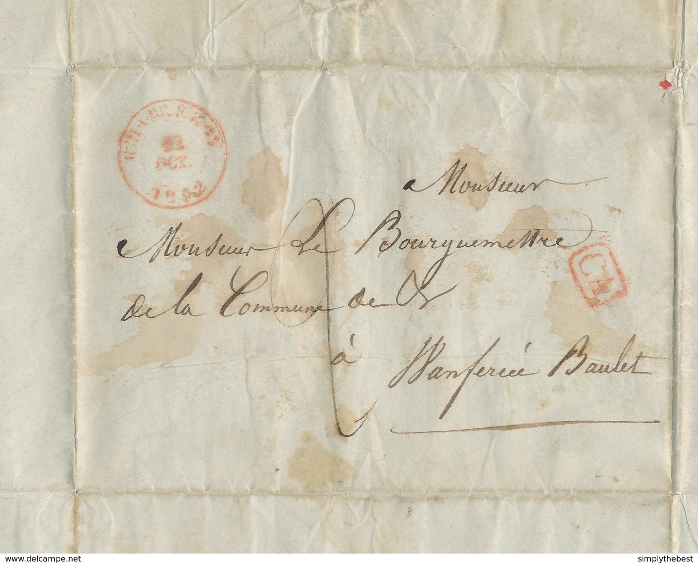 500/28 - CHARBONNAGES - Lettre Précurseur CHARLEROY 1842 Vers WANFERCEE BAULET - CA= Corresp. Arrondissement - 1830-1849 (Belgique Indépendante)