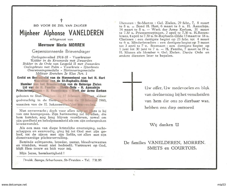 D 651. ALPHONSE VANELDEREN - Gep.brievendrager- Oorlogsinv. 1914/18/Vuurkruiser/Versch. Medailles - ST-TRUIDEN 1891/1960 - Images Religieuses