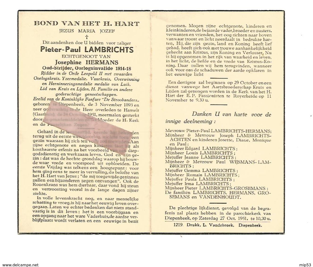 D 652. PIETER-PAUL LAMBRICHTS - Oud-strijder/Oorlogsinvalied 1914/18-Versch. Medailles - °DIEPENBEEK 1893 /+HASSELT 1951 - Images Religieuses