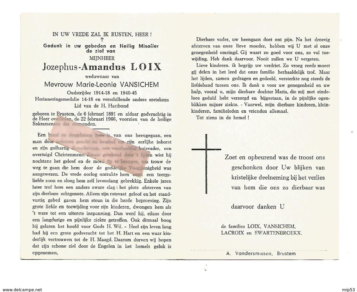 D 654. JOZEPHUS AMANDUS LOIX - Oudstrijder 1914/18 En 40/45 -Versch. Eretekens - BRUSTEM 1891 / 1966 - Images Religieuses