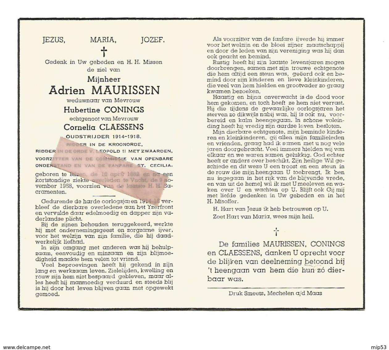 D 656. ADRIEN MAURISSEN - Oudstrijder 1814/18-Ridder Kroonorde En Orde LEOPOLD II- °BILZEN1882 / +VUCHT 1958 - Images Religieuses