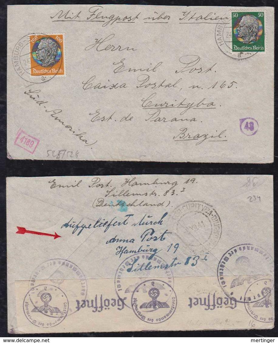Deutsches Reich 1941 Zensur Censor LATI Luftpost Brief HAMBURG CURITIBA Brasilien Brazil - Allemagne