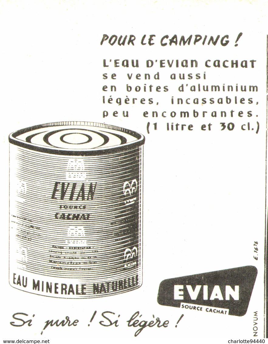 "PUB BOITE ALUMINIUM  "" EVIAN ""  1957 (1) - Boîtes"