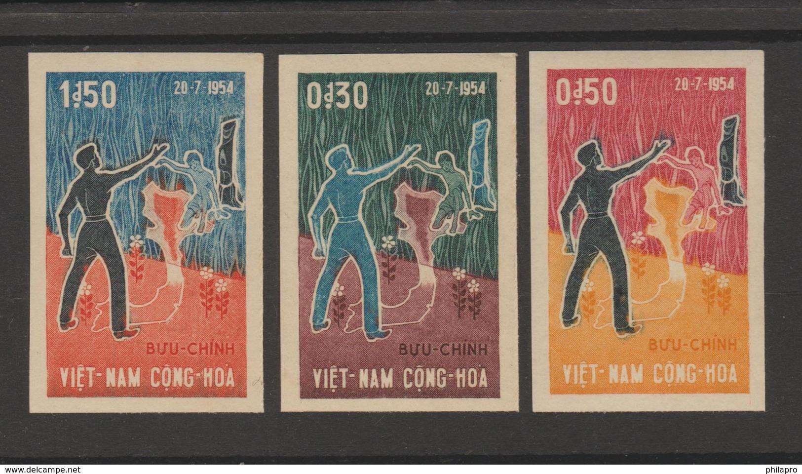 SOUTH VIETNAM  IMPERF / NON DENT PARTITION   YVERT N° 242/4**MNH Réf  242 See 2 Scans - Viêt-Nam
