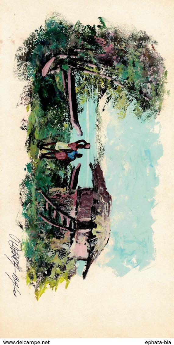 Peinture Africaine, Huile, Sur Papier (125x230 Mm) - Art Africain