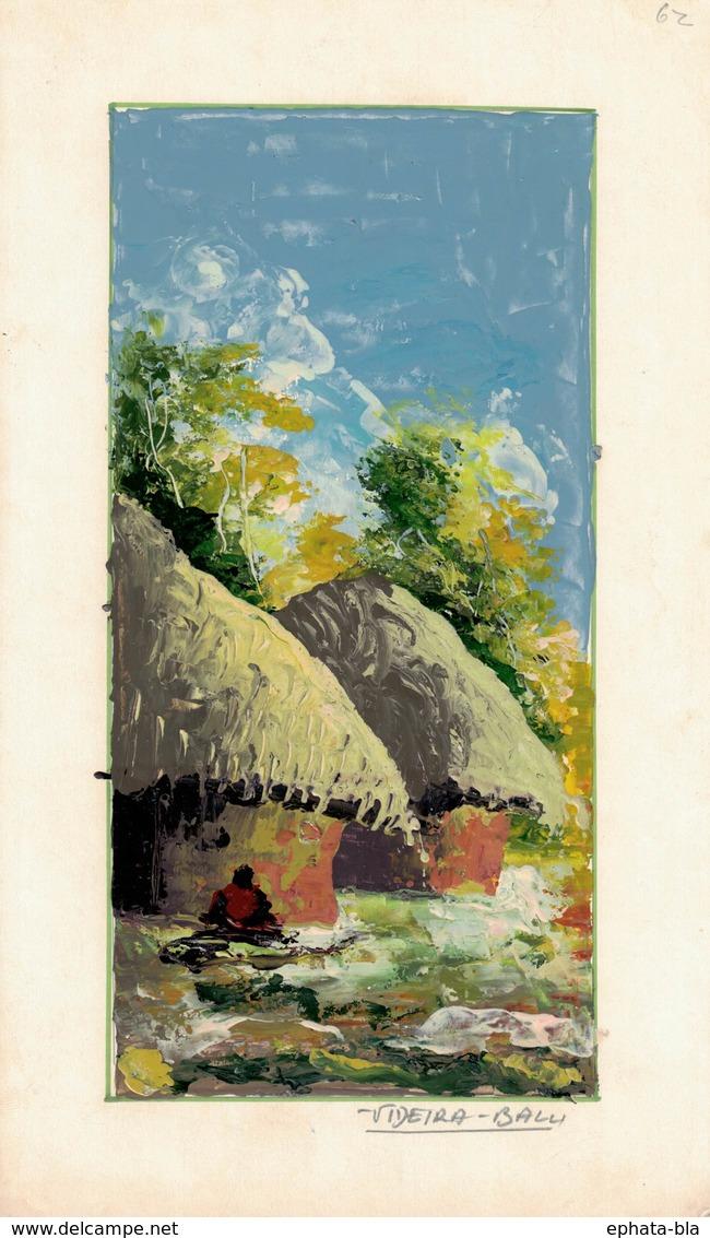 Peinture Africaine, Huile, Sur Papier Fort (160x265 Mm) - Art Africain