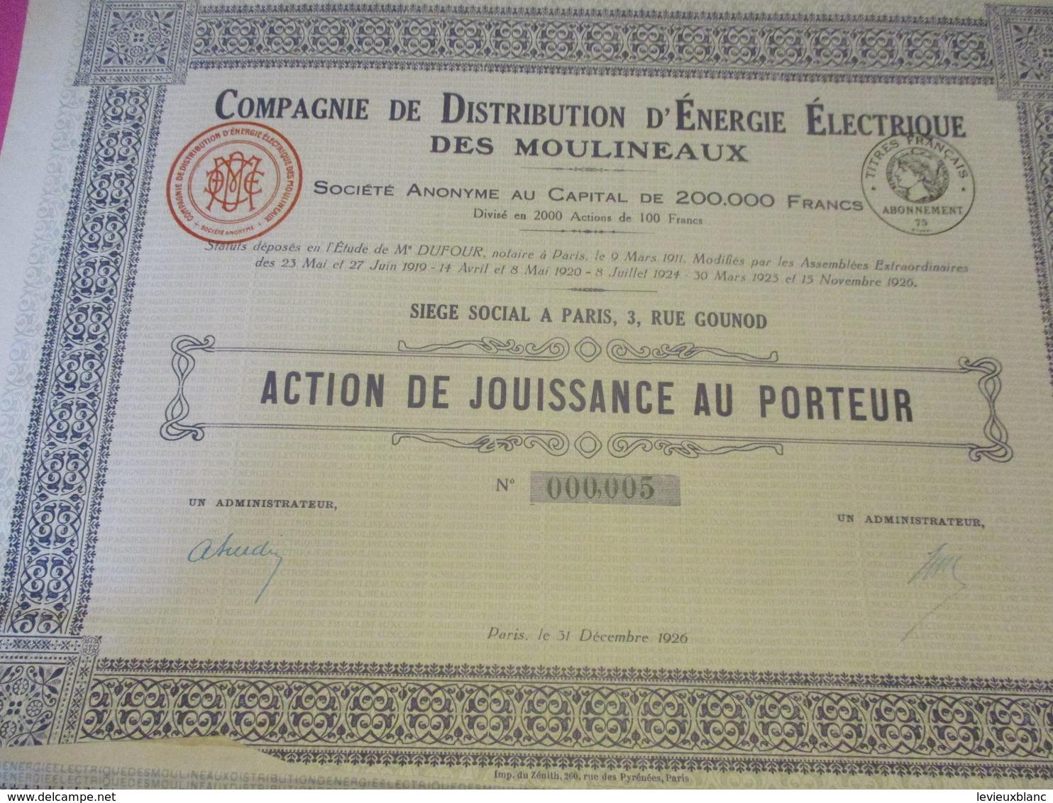Action De 250 Fr Au Porteur /Société Du Gaz De Paris /Paris/1928       ACT202 - Electricité & Gaz
