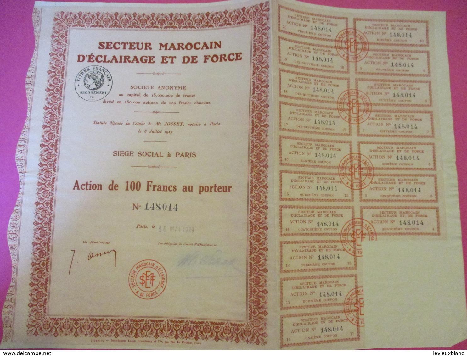 Action De 100  Fr Au Porteur /Secteur Marocain D'Eclairage Et De Force/Paris/1929      ACT208 - Electricité & Gaz