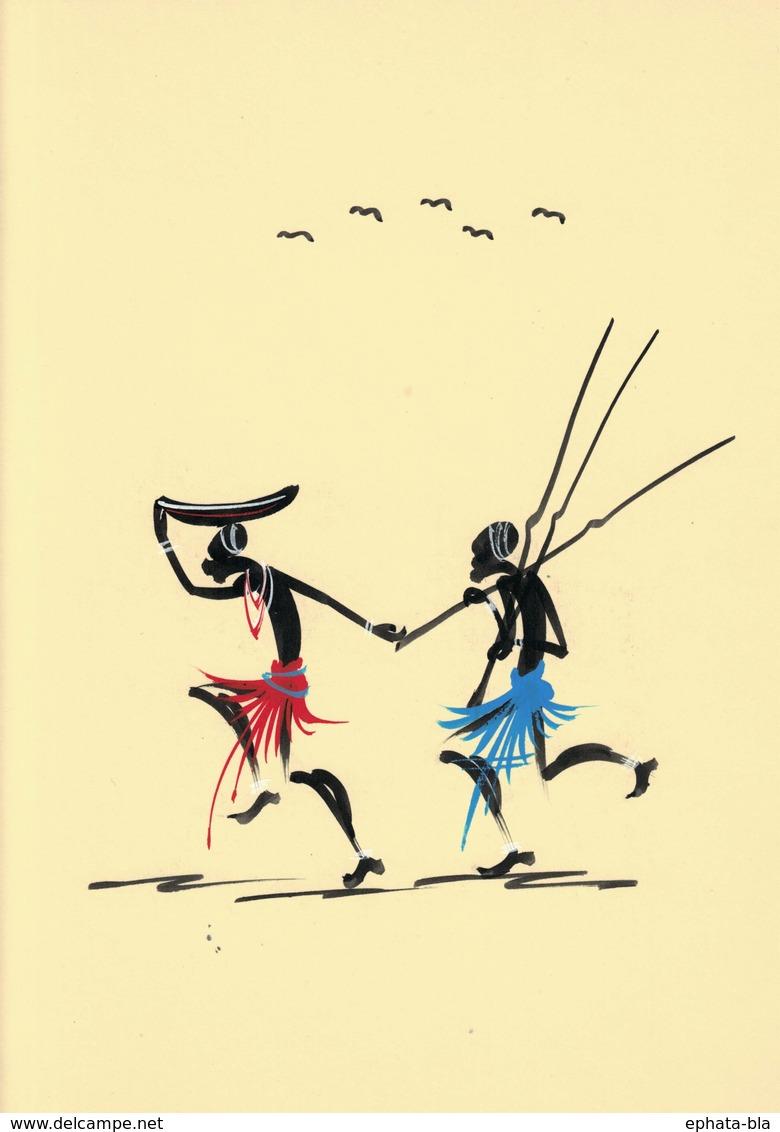 Peinture Africaine, Sur Papier De Couleur (240x320 Mm) - Art Africain