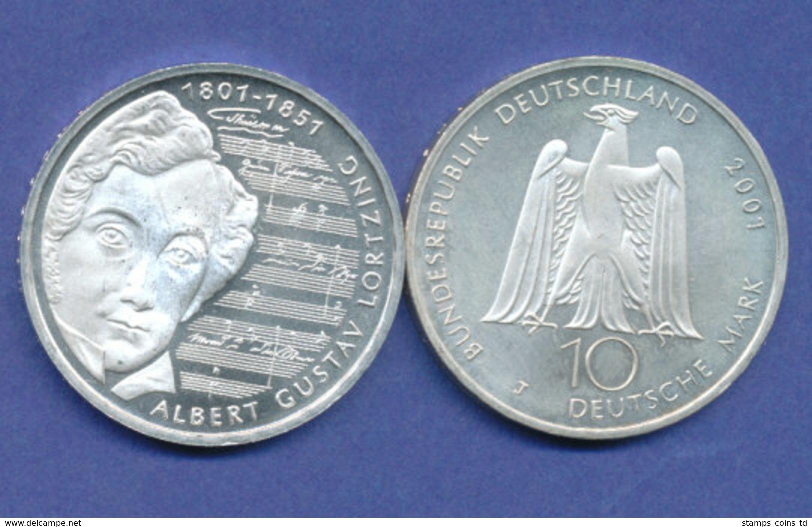 Bundesrepublik 10DM Silber-Gedenkmünze 2001, Albert Gustav Lortzing - [ 7] 1949-…: BRD