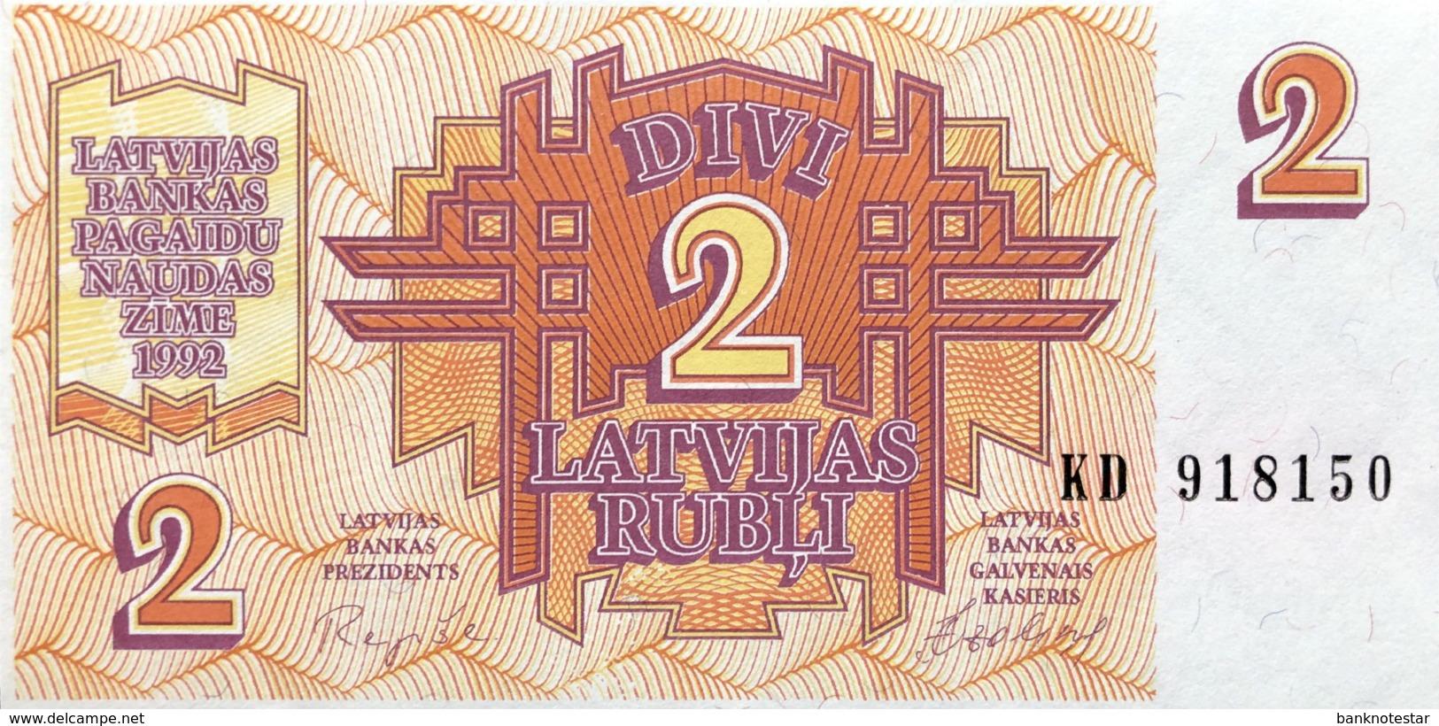 Latvia 2 Rubli, P-36 (1992) - UNC - Lettonie