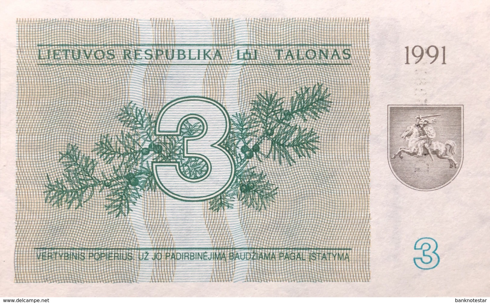 Lithuania 3 Talonas, P-33b (1991) - UNC - Lituanie