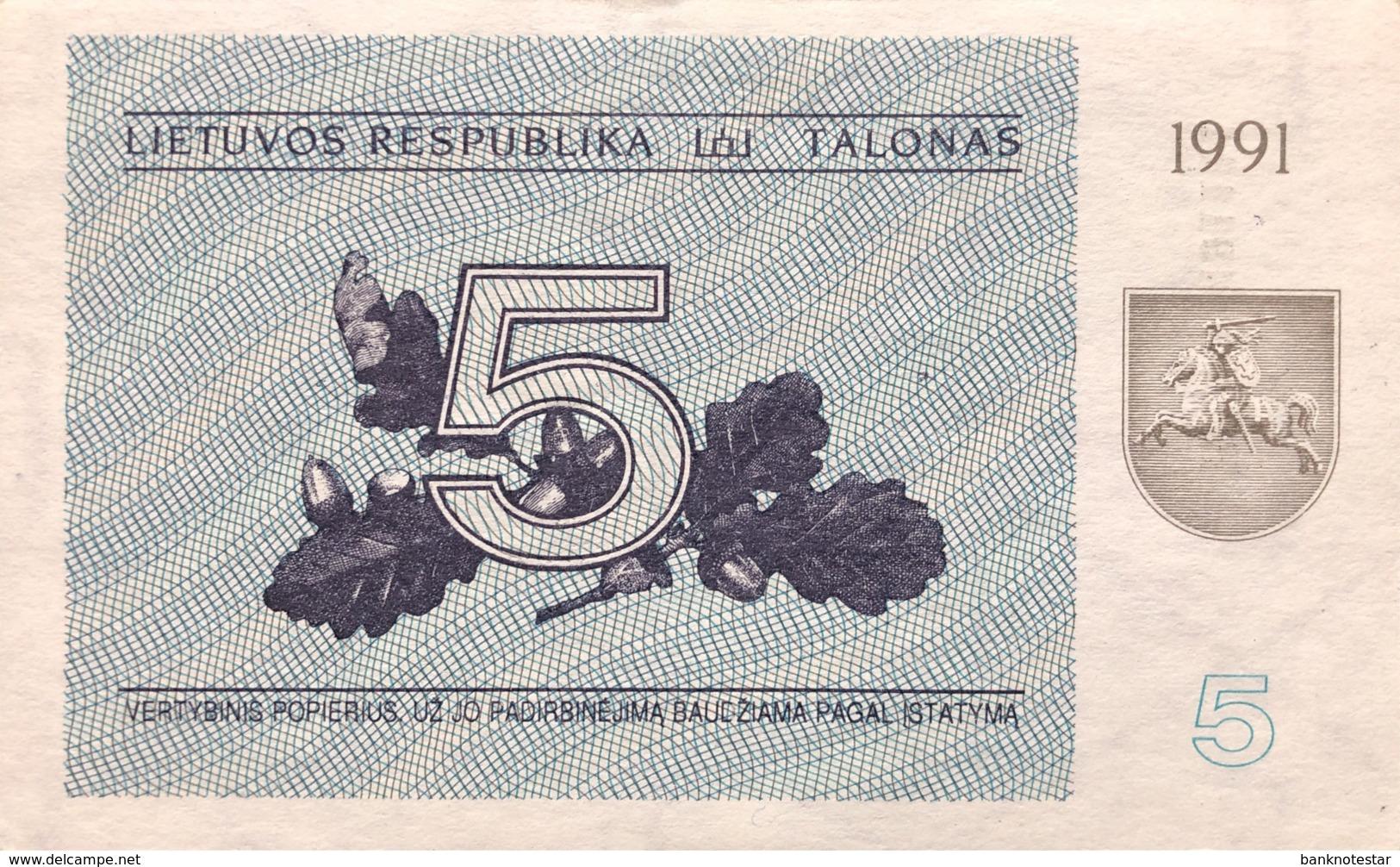 Lithuania 5 Talonas, P-34b (1991) - AUNC - Lituanie