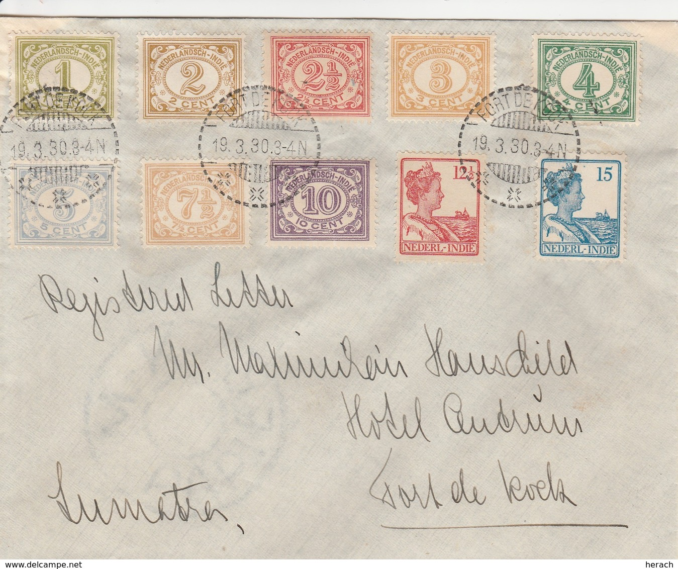 Indes Neerlandaises Lettre Port De Kock 1930 - Indes Néerlandaises