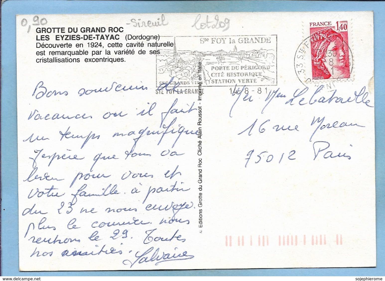 Les Eyzies-de-Tayac-Sireuil (24) Grotte Du Grand Roc 2 Scans 14-08-1981 Flamme De Sainte-Foy-la-Grande - France
