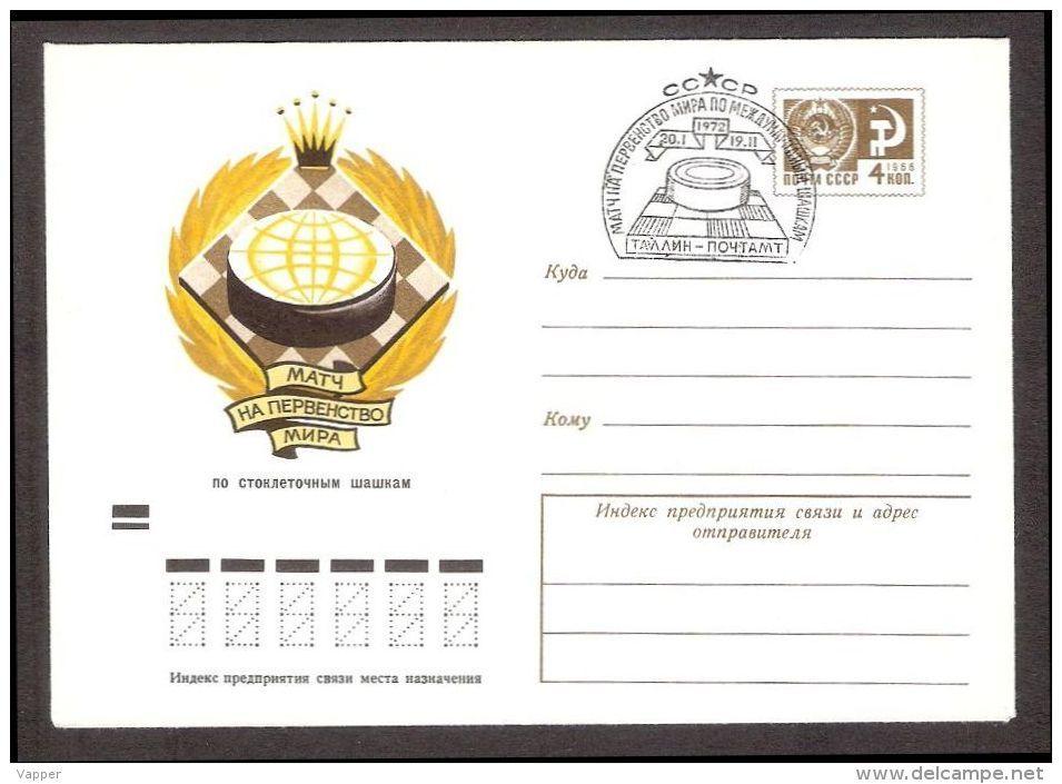 Chess Schach Ajedrez Echecs Checkers Postmark Tallinn-1972 World  Ch-p Match + Special Postal Stationary Cover - Schaken