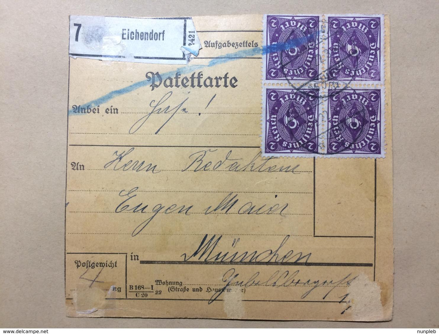 GERMANY - 1922 Bulletin D`expedition - Eichendorf To Munchen Munich - Multi-stamped Both Sides - Allemagne