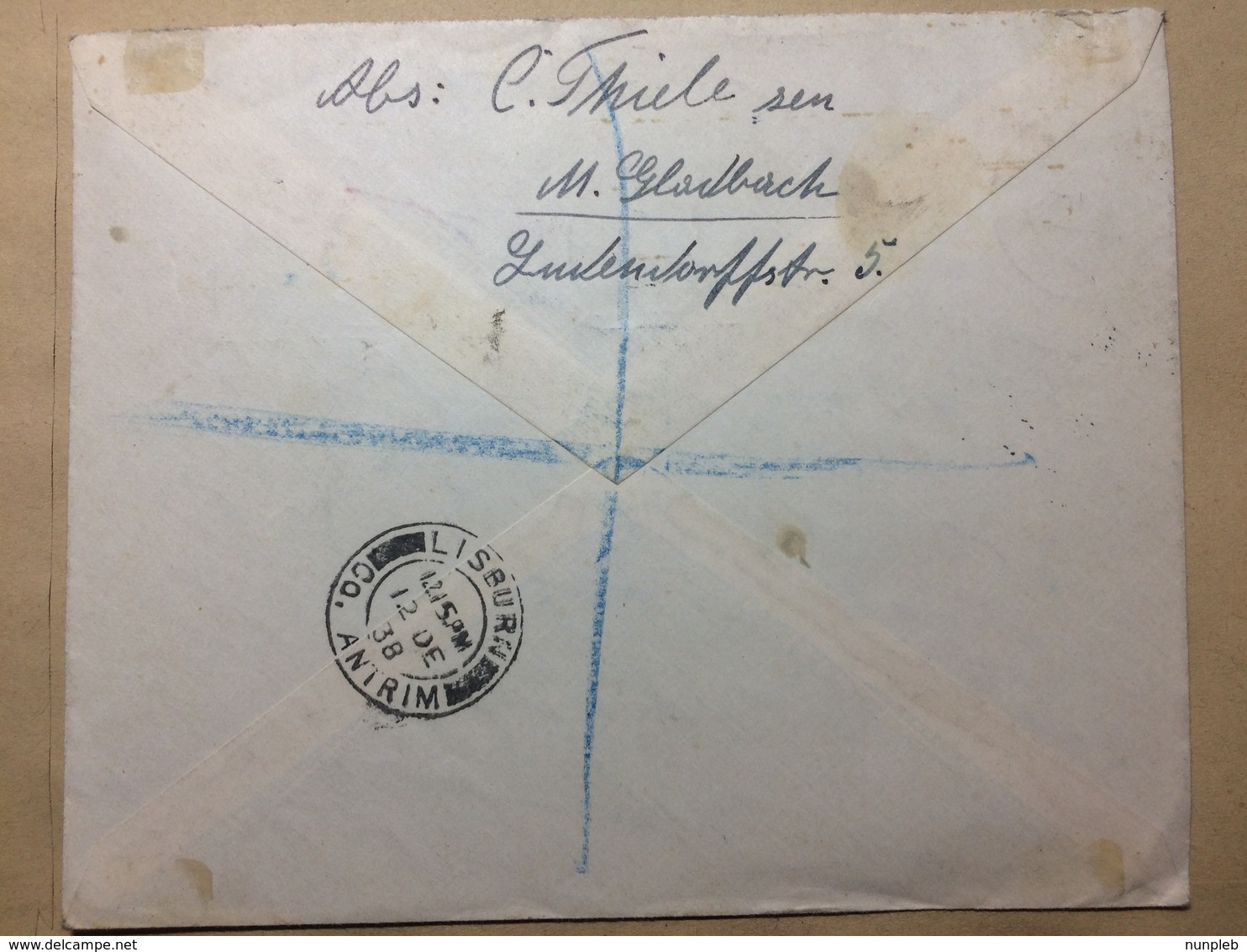 GERMANY - 1938 Cover - Winter Relief Fund Air Mail Registered Munchen Gladbach To Lisburn N. Ireland - Allemagne