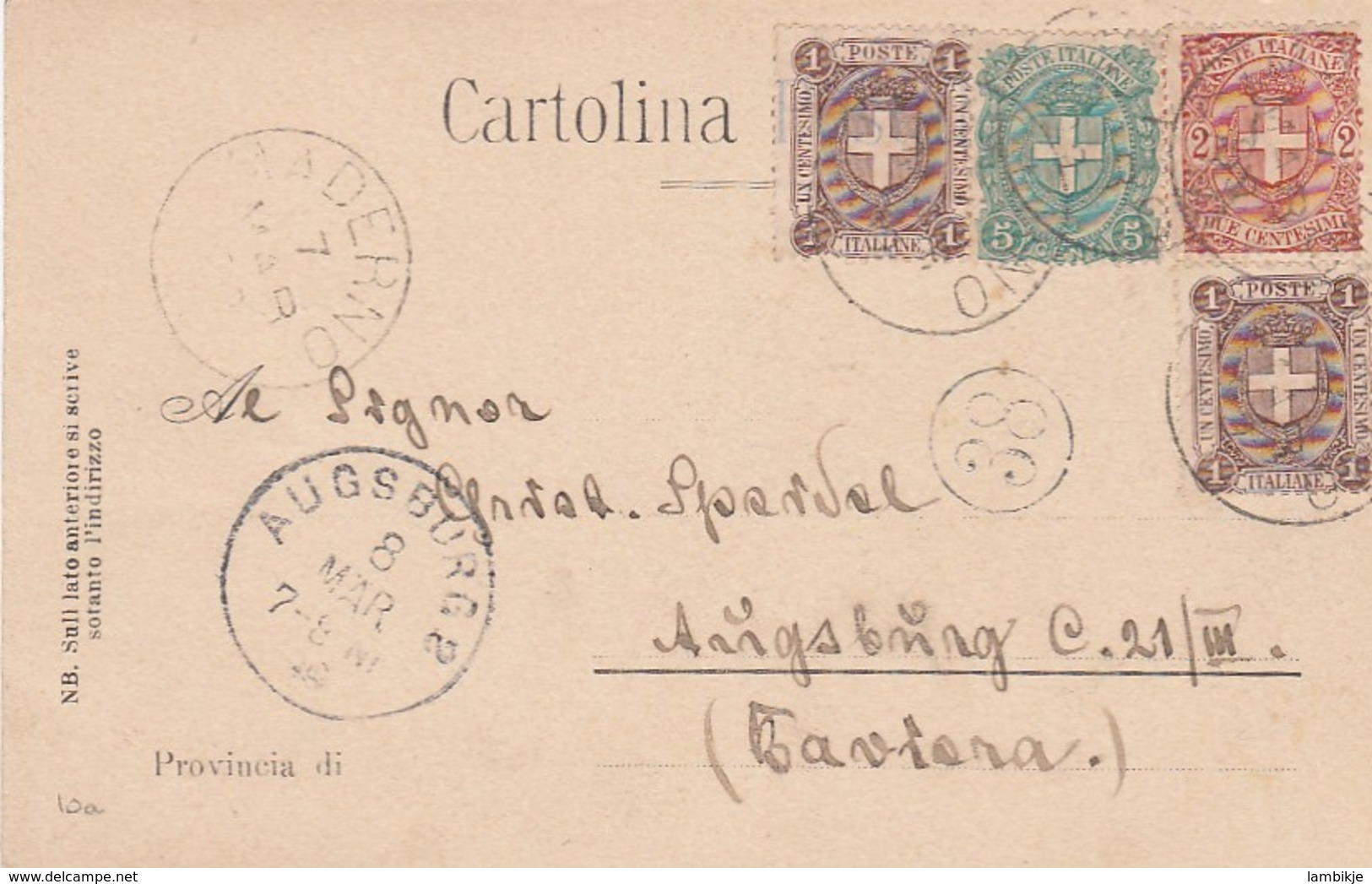 Italy Postcard 1898 - Affrancature Meccaniche Rosse (EMA)