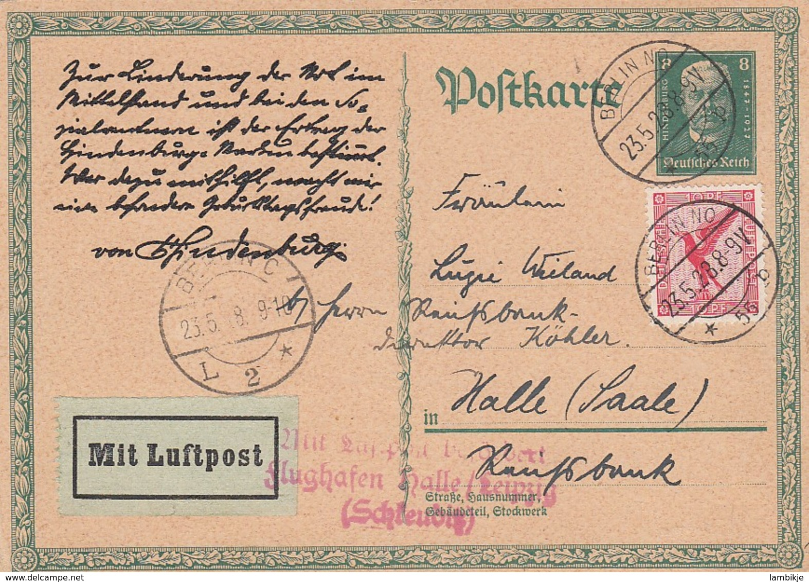 Deutsches Reich Luftpost Postkarte 1928 - Briefe U. Dokumente