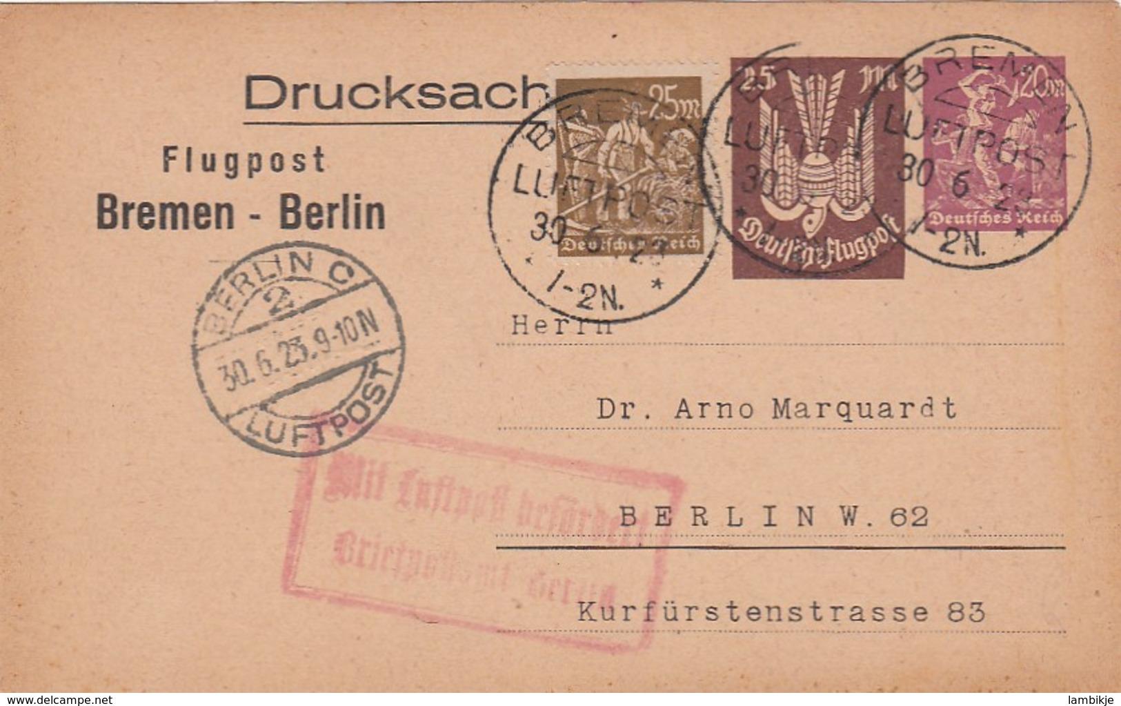 Deutsches Reich Luftpost Postkarte 1923 - Deutschland