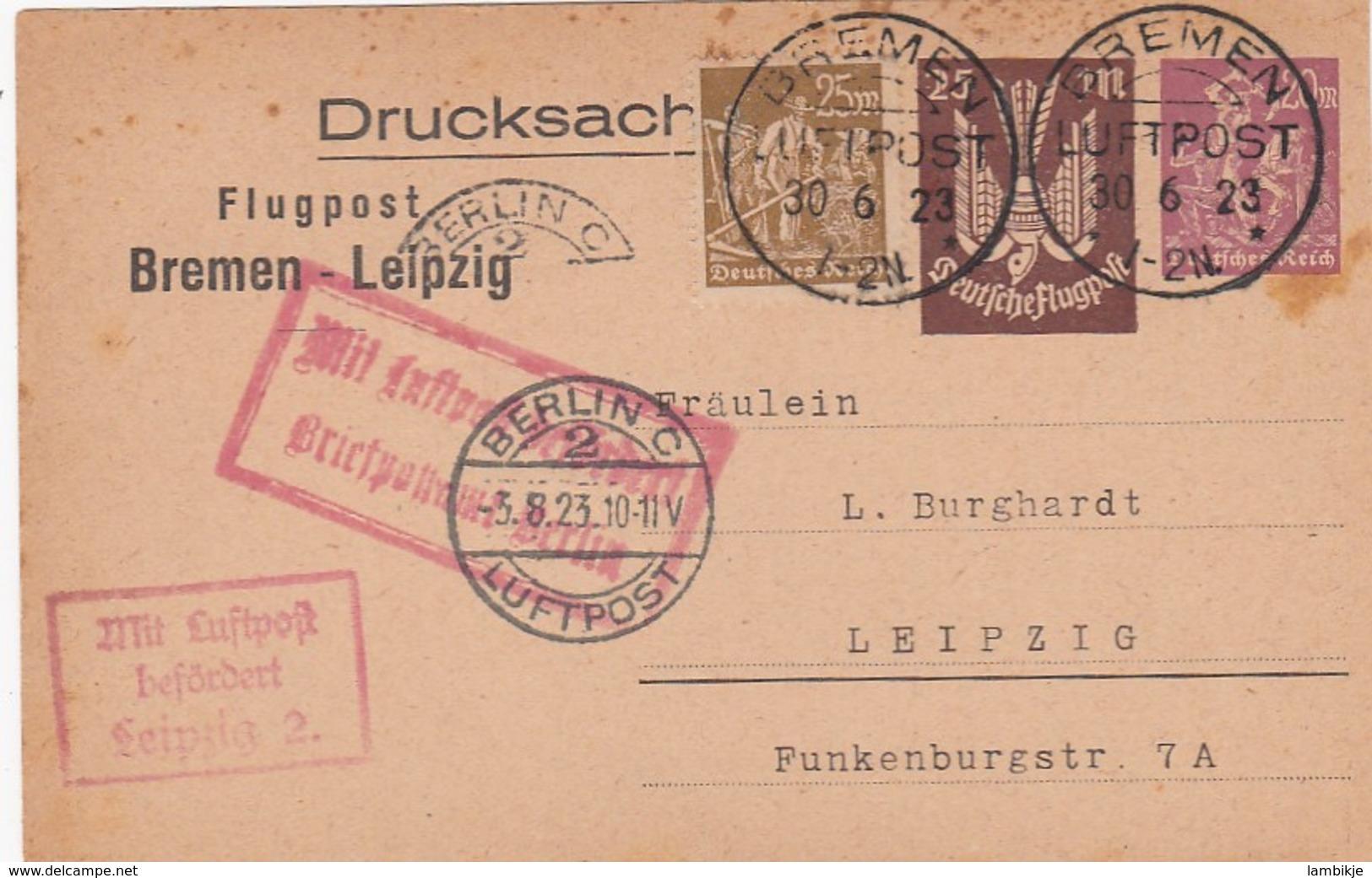 Deutsches Reich Luftpost Postkarte 1923 - Allemagne