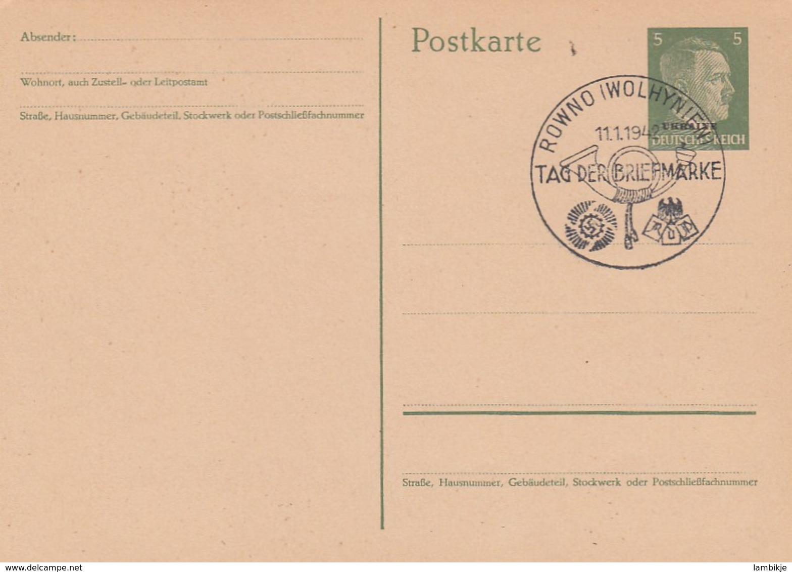 Deutsches Reich Ukraine Postkarte P1 1942 - Besetzungen 1938-45