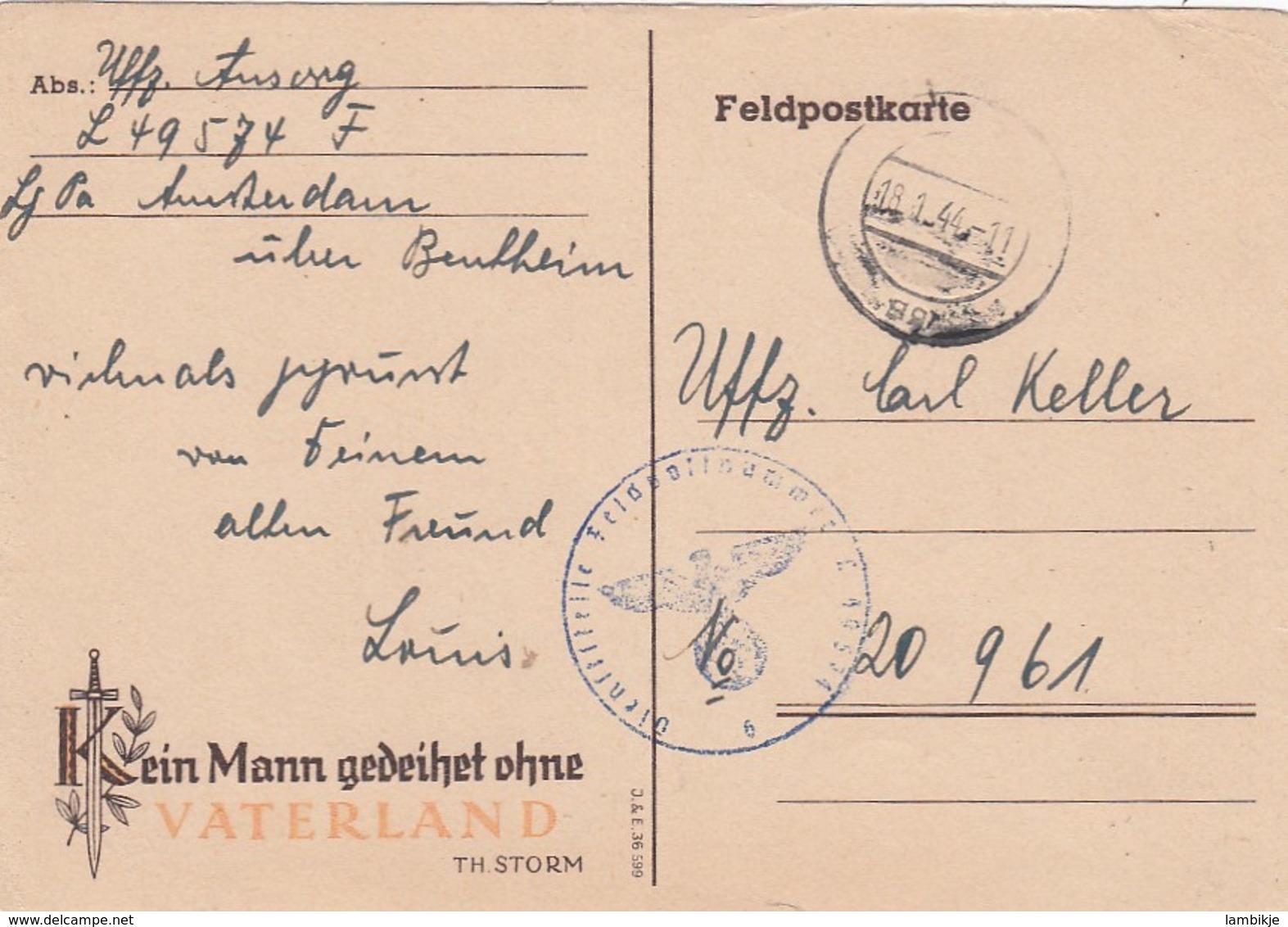 Deutsches Reich Propaganda Postkarte 1944 - Briefe U. Dokumente