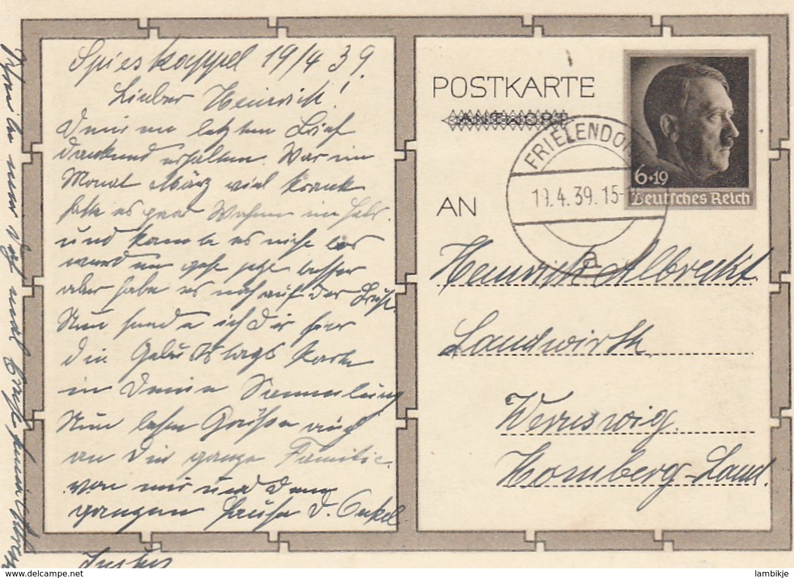 Deutsches Reich Postkarte P278/02 1939 - Briefe U. Dokumente