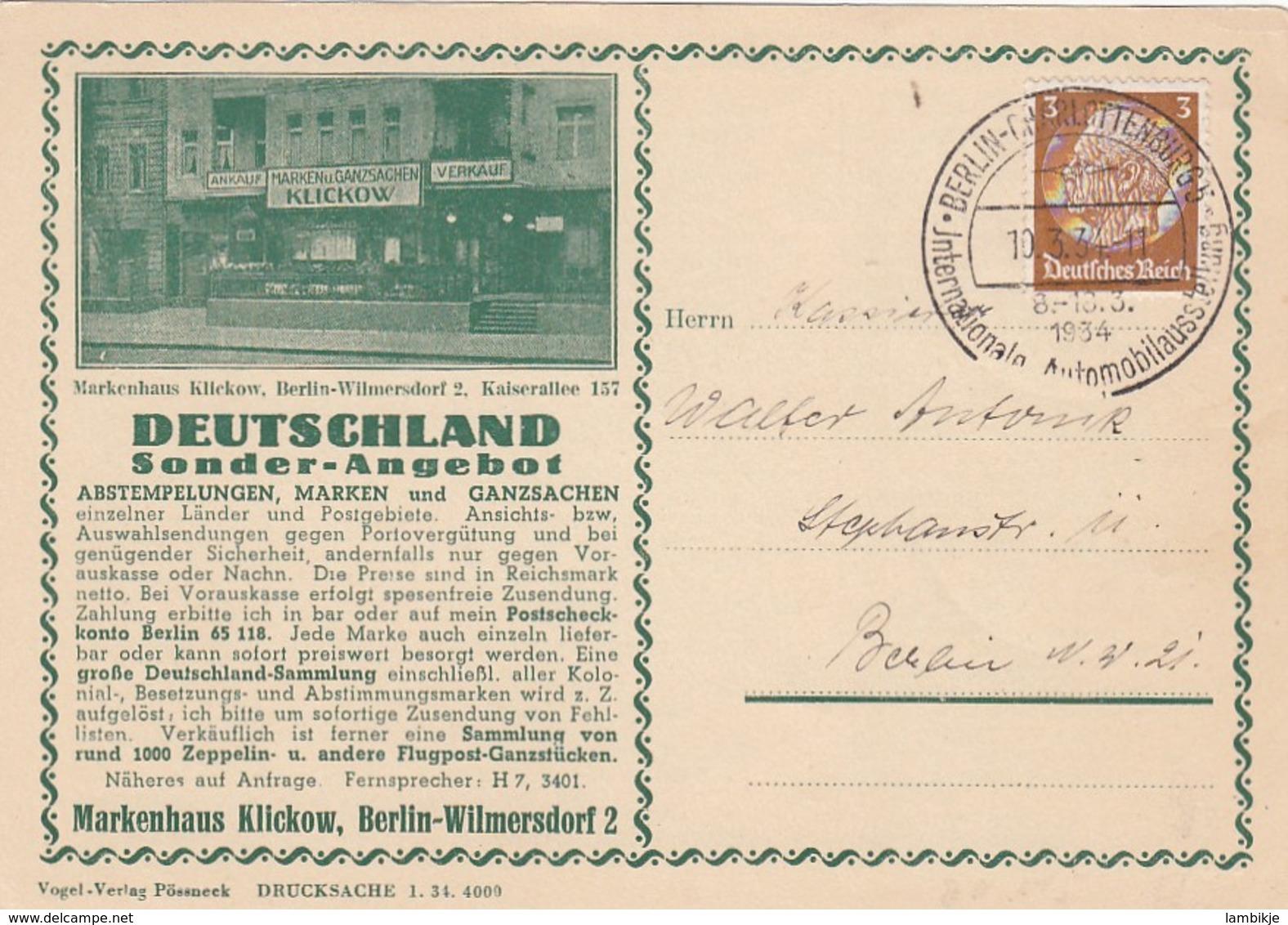 Deutsches Reich Postkarte 1934 - Briefe U. Dokumente