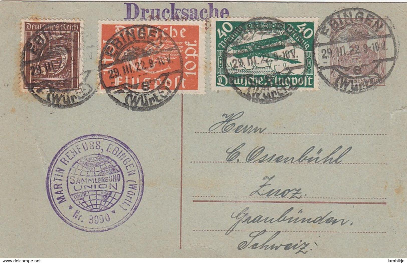 Deutsches Reich Postkarte Flugpost 1922 - Briefe U. Dokumente
