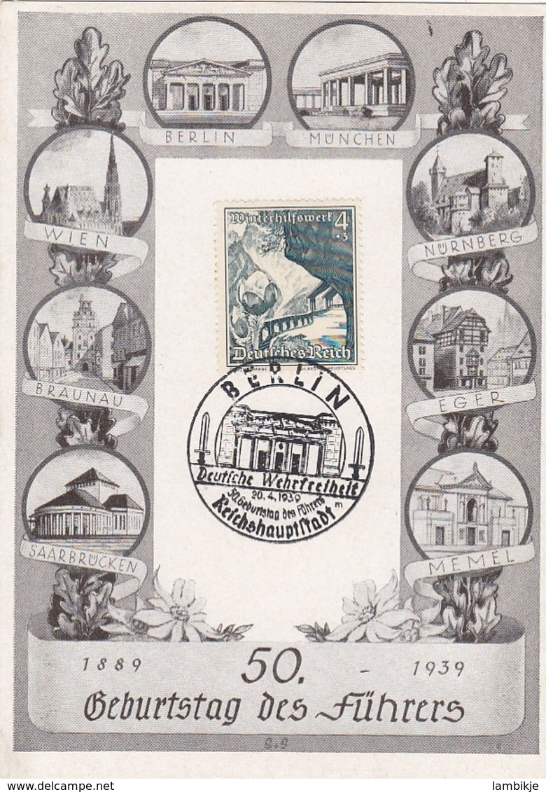 Deutsches Reich Postkarte Propaganda 1939 Geburtstag Des Fuhrers - Briefe U. Dokumente
