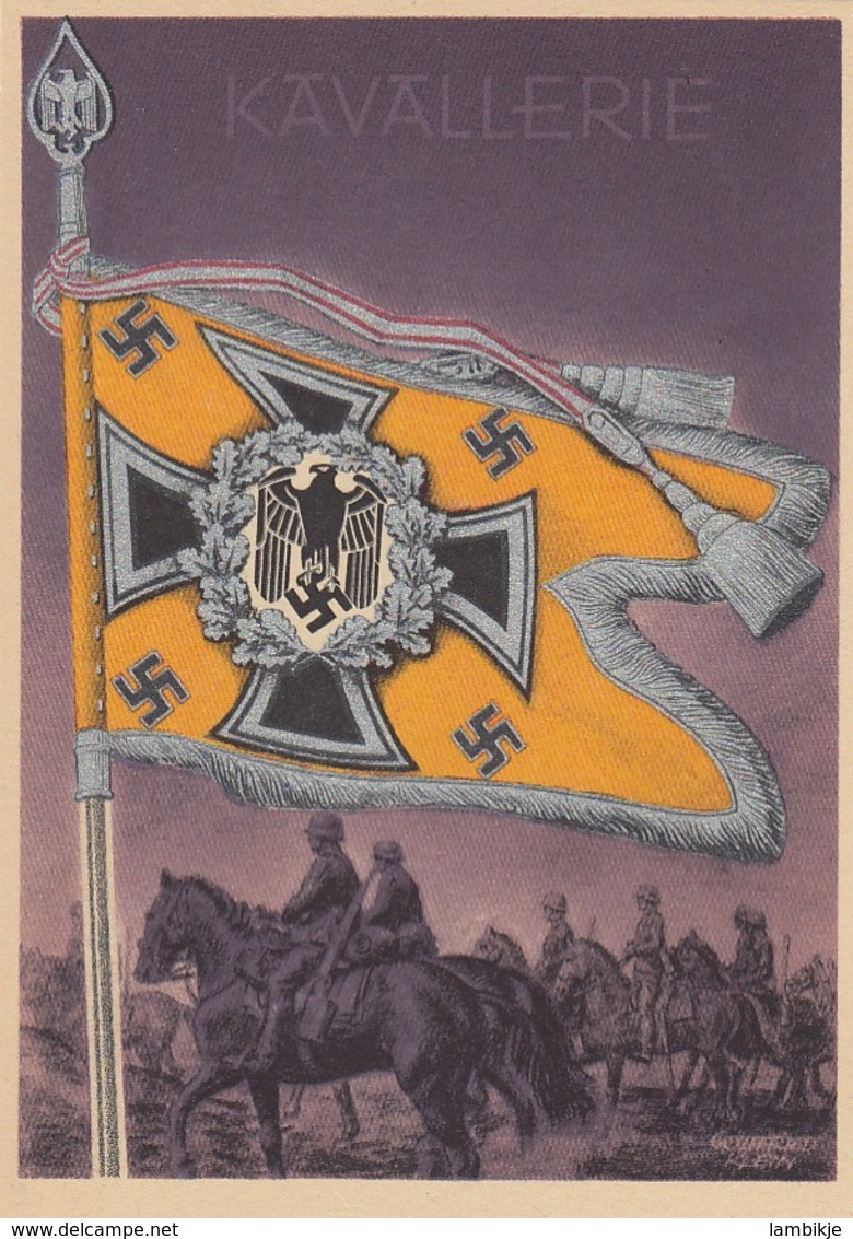 Deutsches Reich Postkarte Propaganda 1938  Fahne Kavallerie - Deutschland