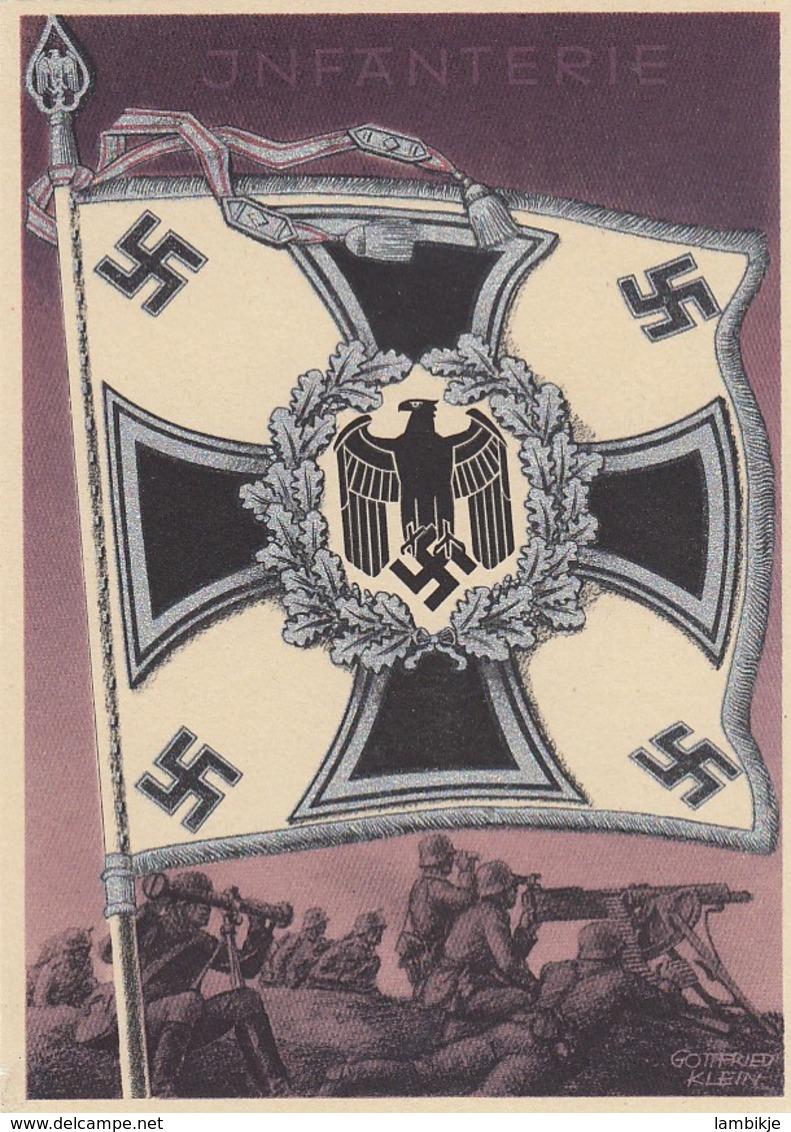 Deutsches Reich Postkarte Propaganda 1938  Fahne Infantarie - Briefe U. Dokumente