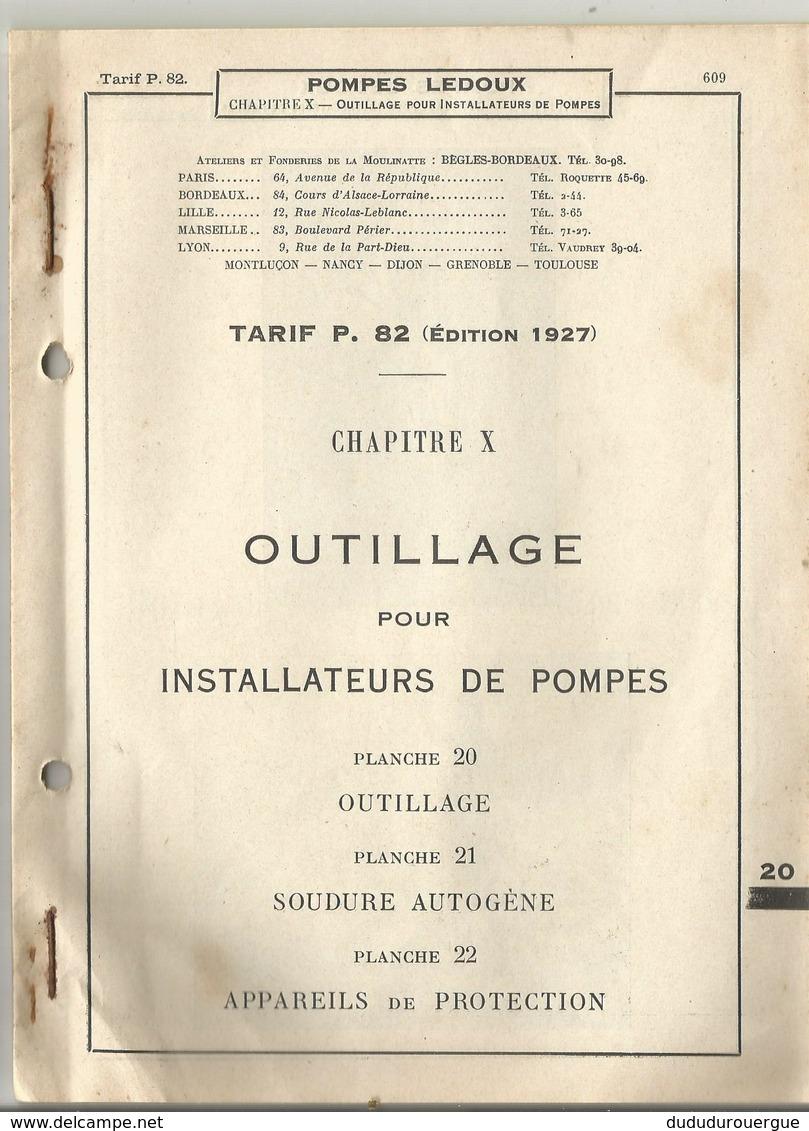 BEGLES - BORDEAUX : POMPES LEDOUX : OUTILLAGE POUR INSTALLATEURS DE POMPES - France