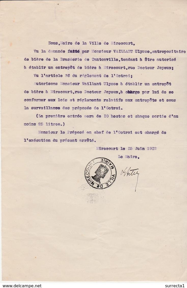 Autorisation 1912 Ville De Mirecourt 88 Vosges / Ouverture Entrepôt De Bière Vaillant / Brasserie De Tantonville 54 - France