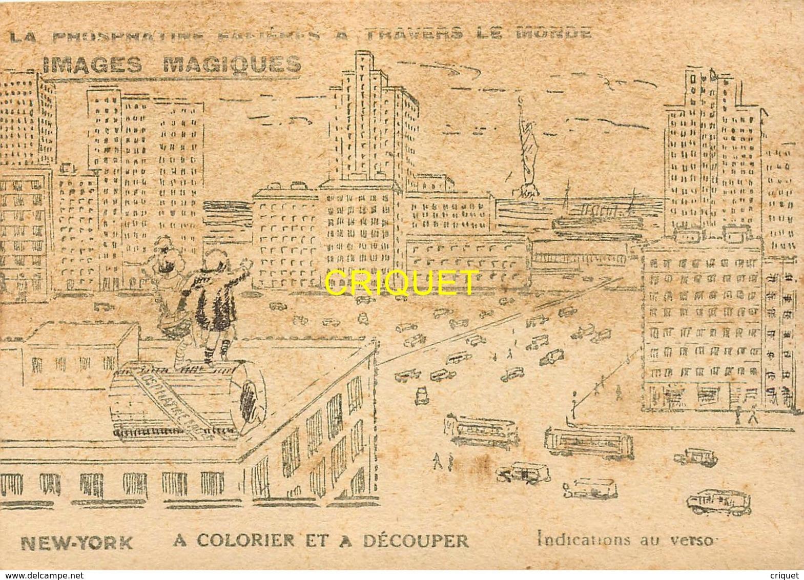 Image Phosphatine à Colorier Et Découper, New-York ( Image Non Coloriée ), Pas Courante - Vieux Papiers